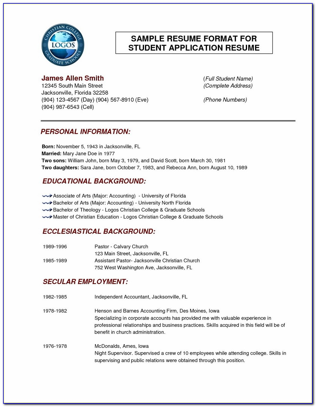 Normal Resume Format Download