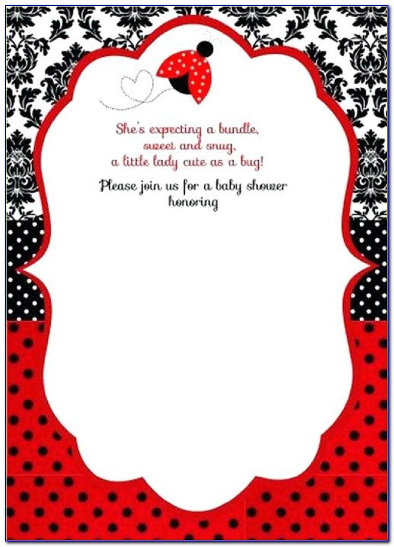 Ladybug Baby Shower Invitation Templates
