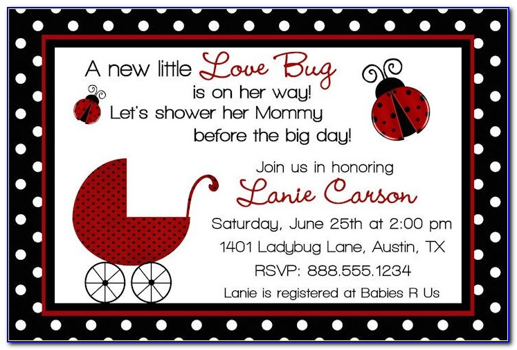 Ladybug Baby Shower Invitations Templates