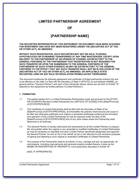Limited Partnership Agreement Template Australia