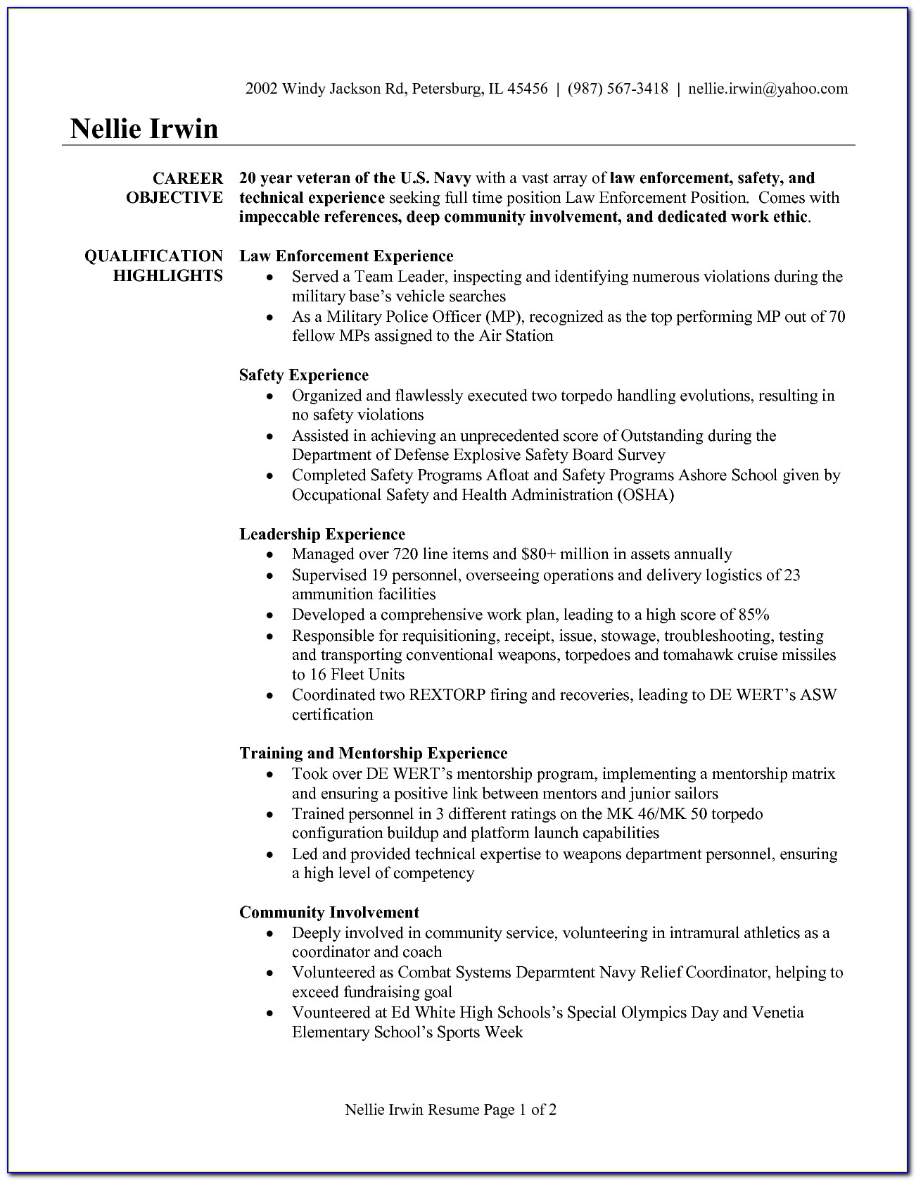 List Of Military Skills For Resume