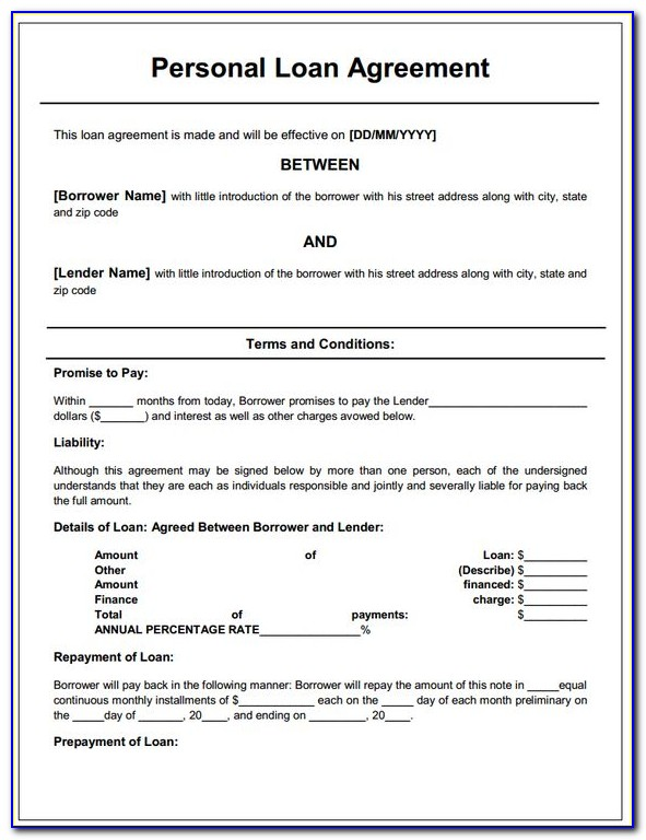 Loan Agreement Template Individual To Company