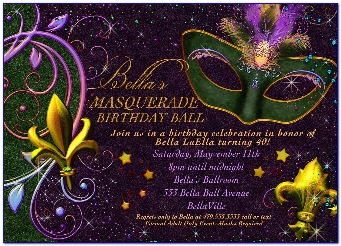 Mardi Gras Party Invitations Templates Free