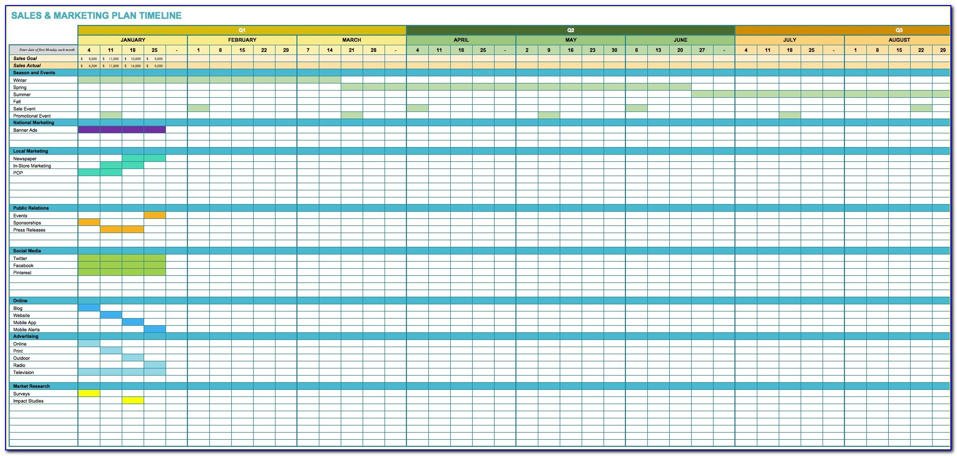 Marketing Timeline Template Excel Format