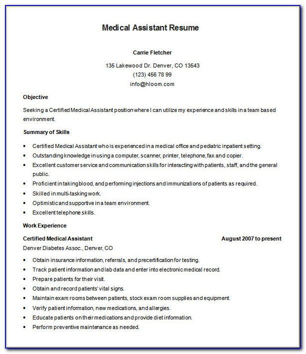 Resume Template For Medical Assistant - Resume : Resume ...