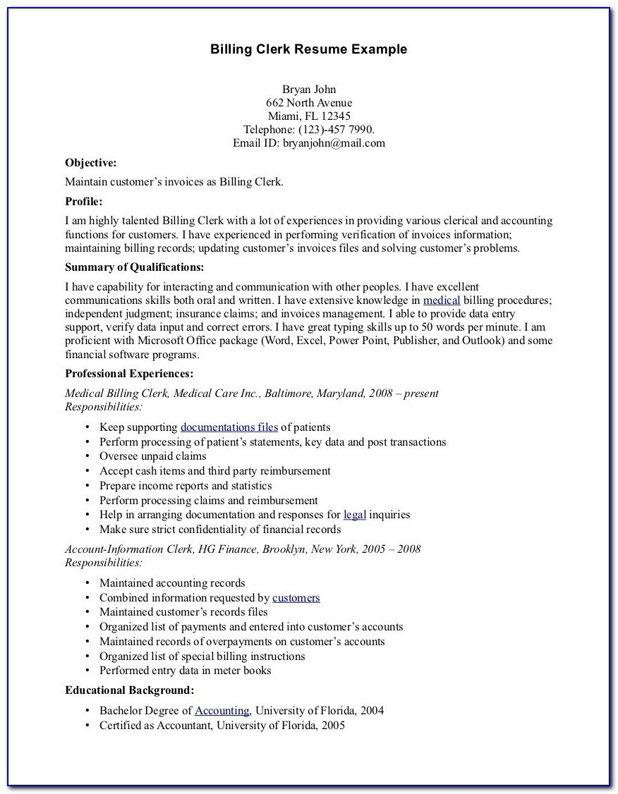 Medical Biller Resume Samples Medical Billing And Coding Externship Resume Sample Medical Biller
