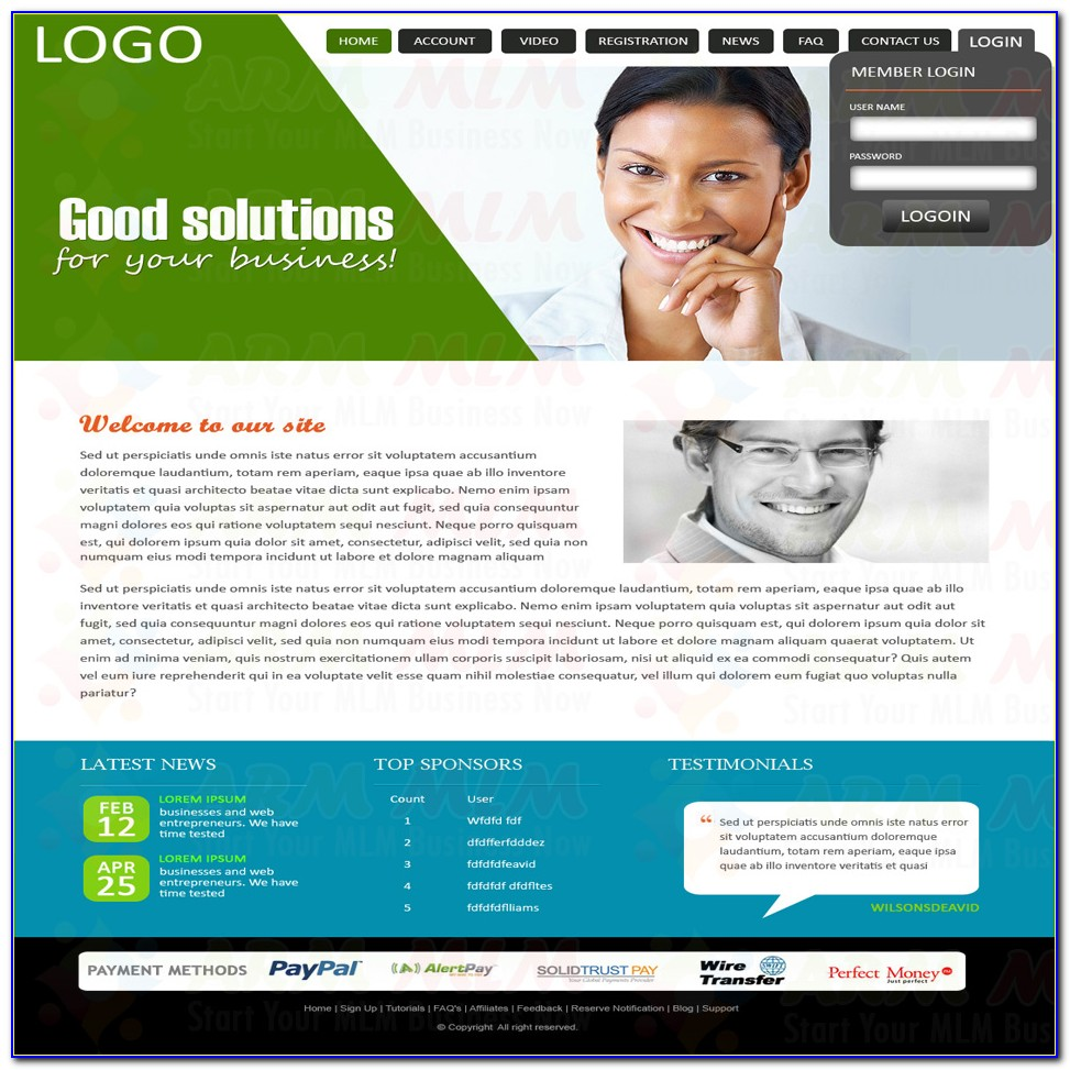 Mlm Website Templates Design