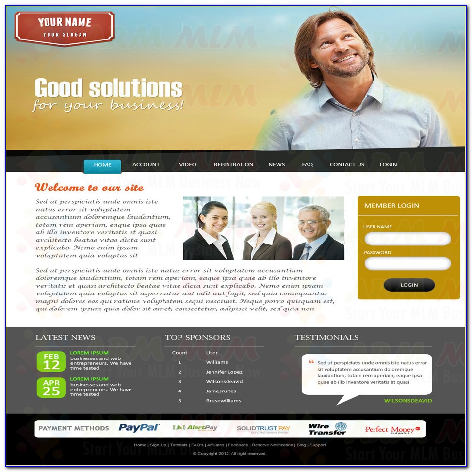 Mlm Website Templates Free