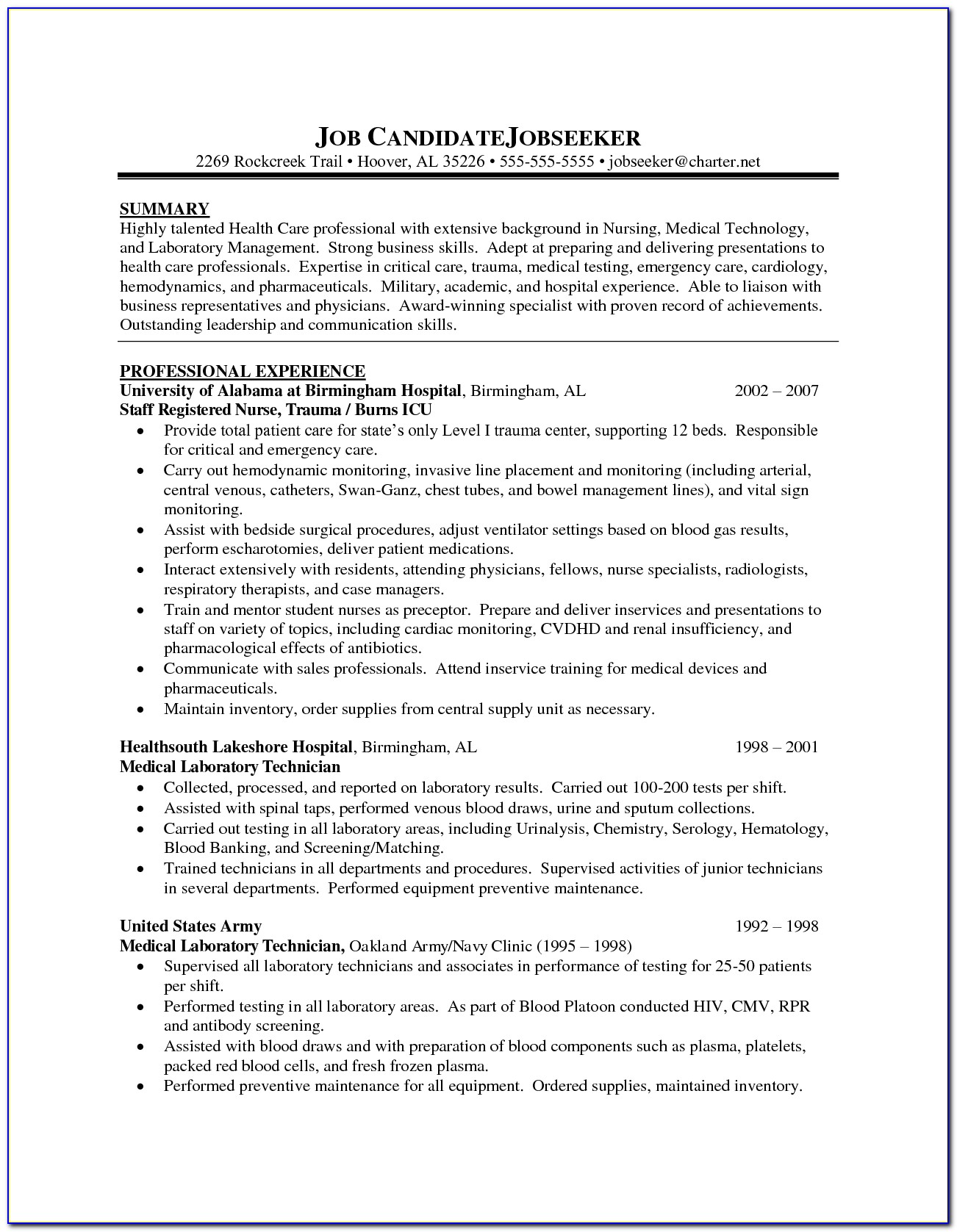 Modern Resume Template For Nurses