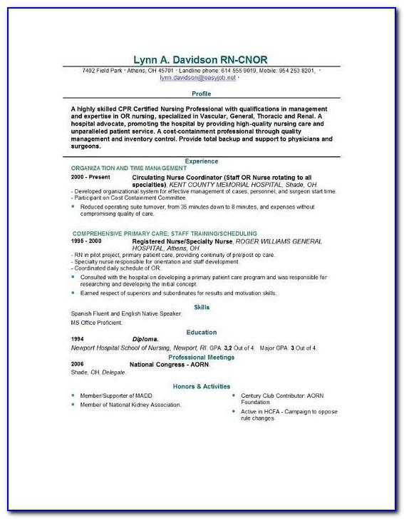 Example Nursing Resume | Resume Format Download Pdf In Nursing School Application Resume