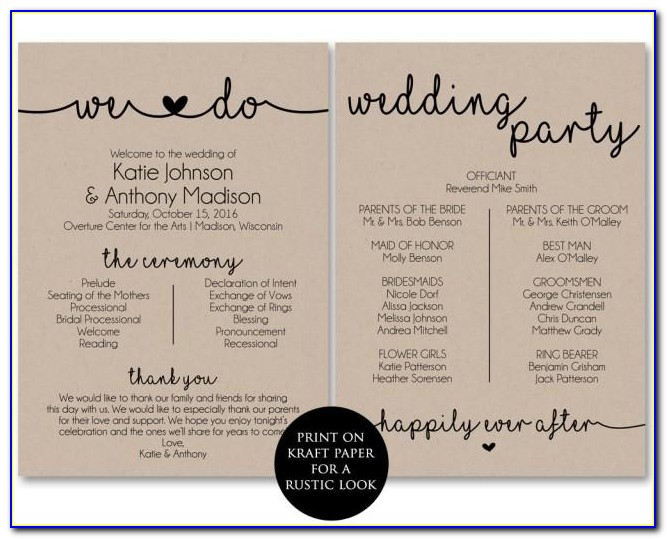 One Sided Wedding Program Template