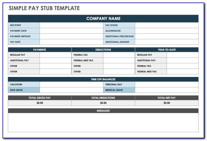Payroll Stub Template Excel Free