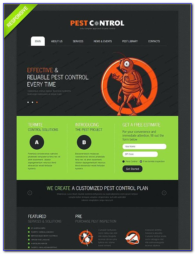Pest Control Responsive Website Template Free Download