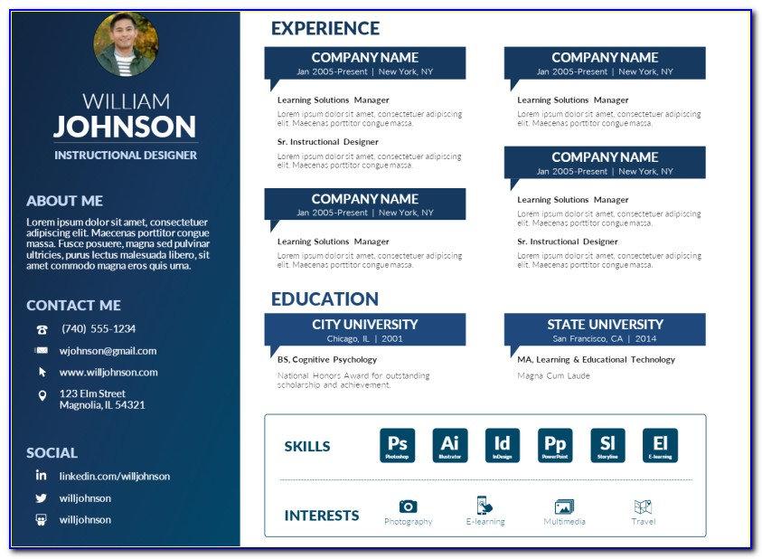 Powerpoint Resume Templates Free Download