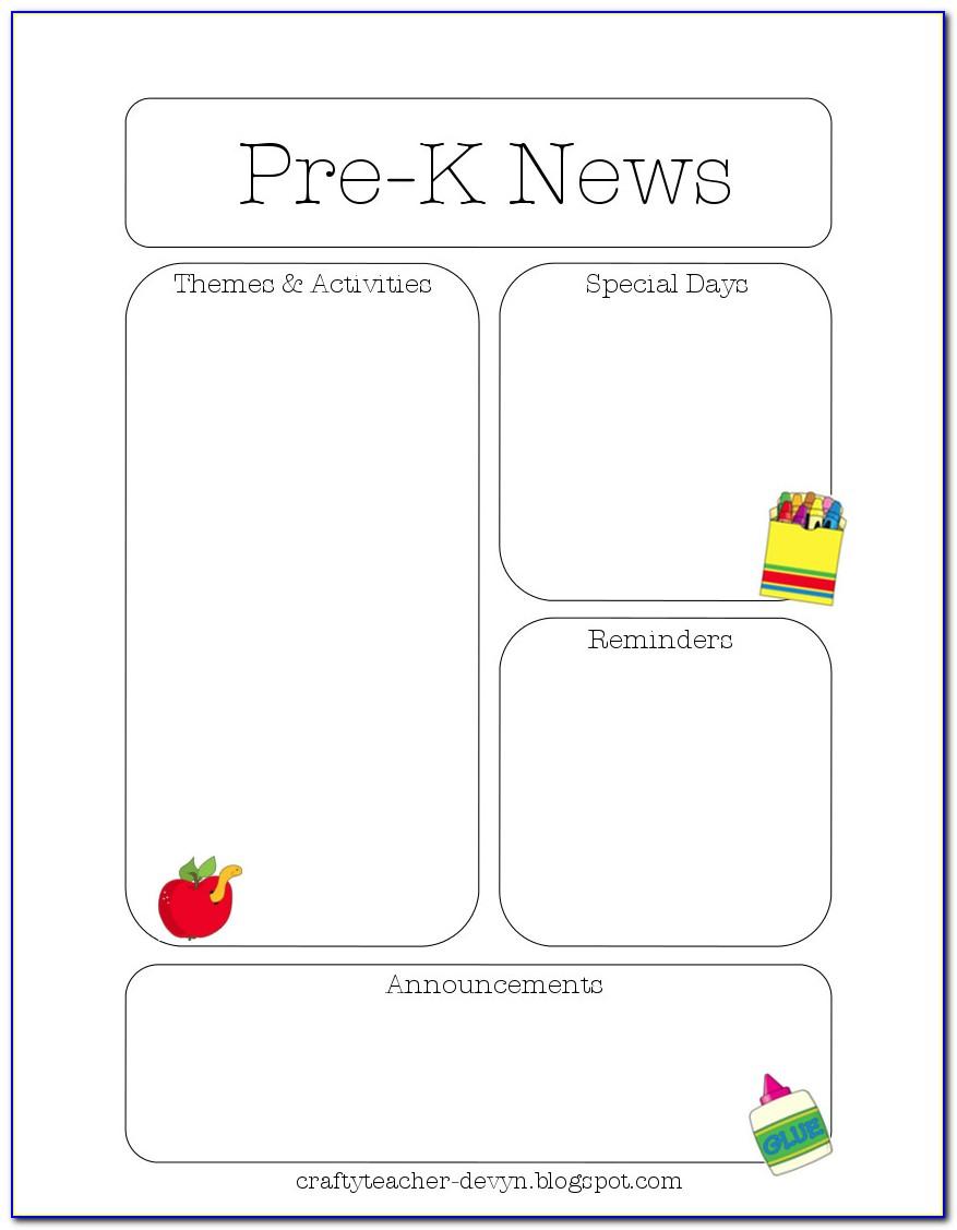 Pre K Newsletter Template Free