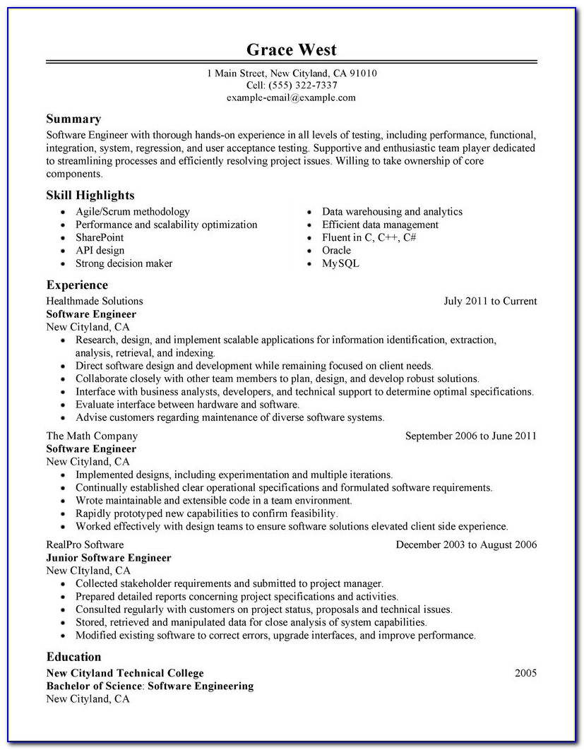 Professional Resume For Senior Software Engineer