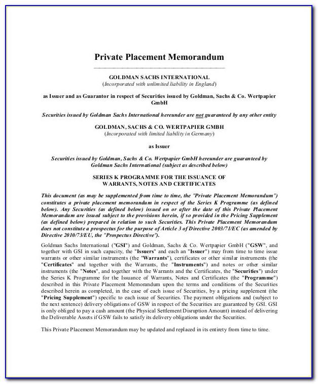 Real Estate Private Placement Memorandum Template Free