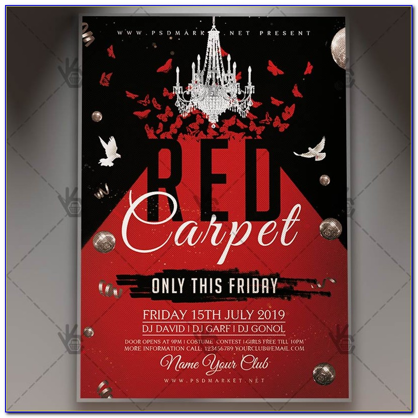 Red Carpet Party Flyer Template Free