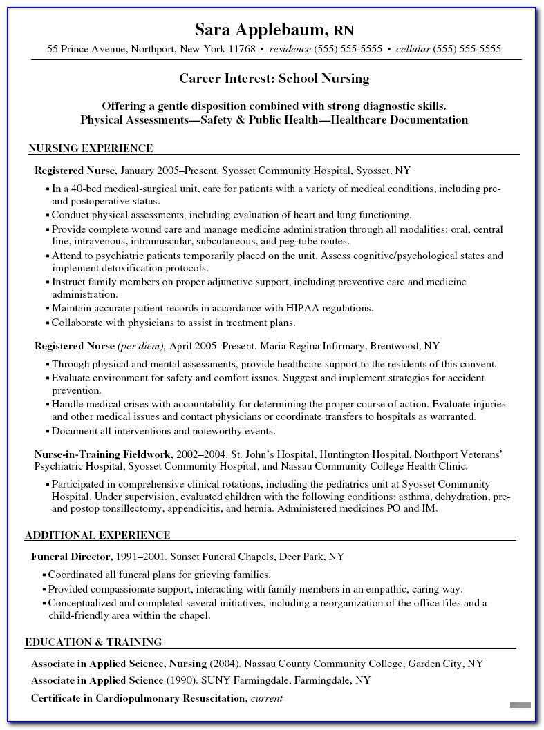 Registered Nurse Resume Examples Australia