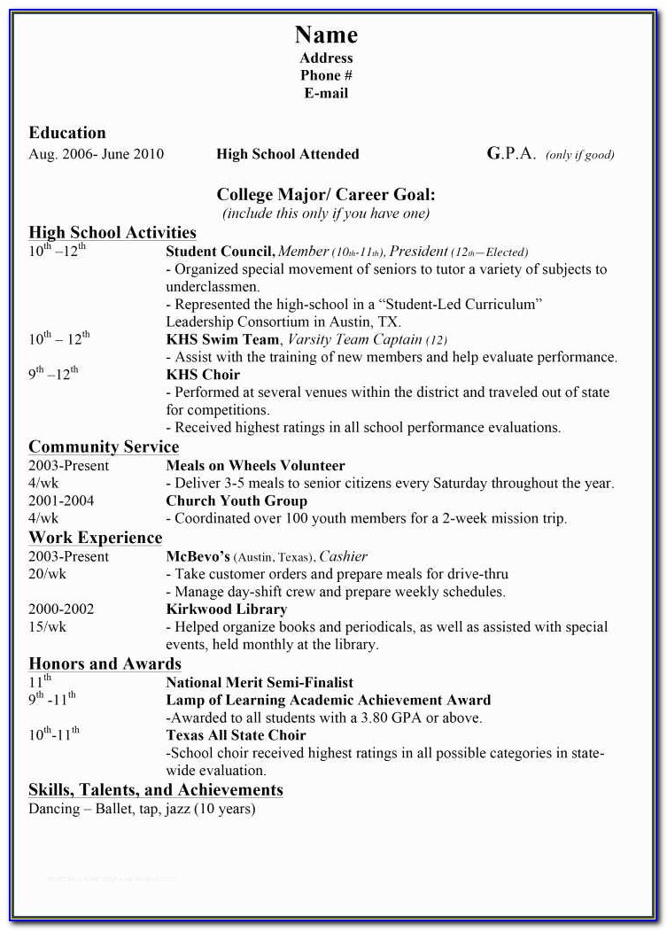 College Resume Builder And College Resume Examples For High School Seniors Best