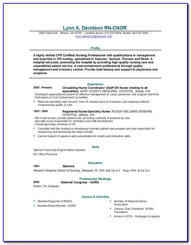 Resume Builder For Nurses