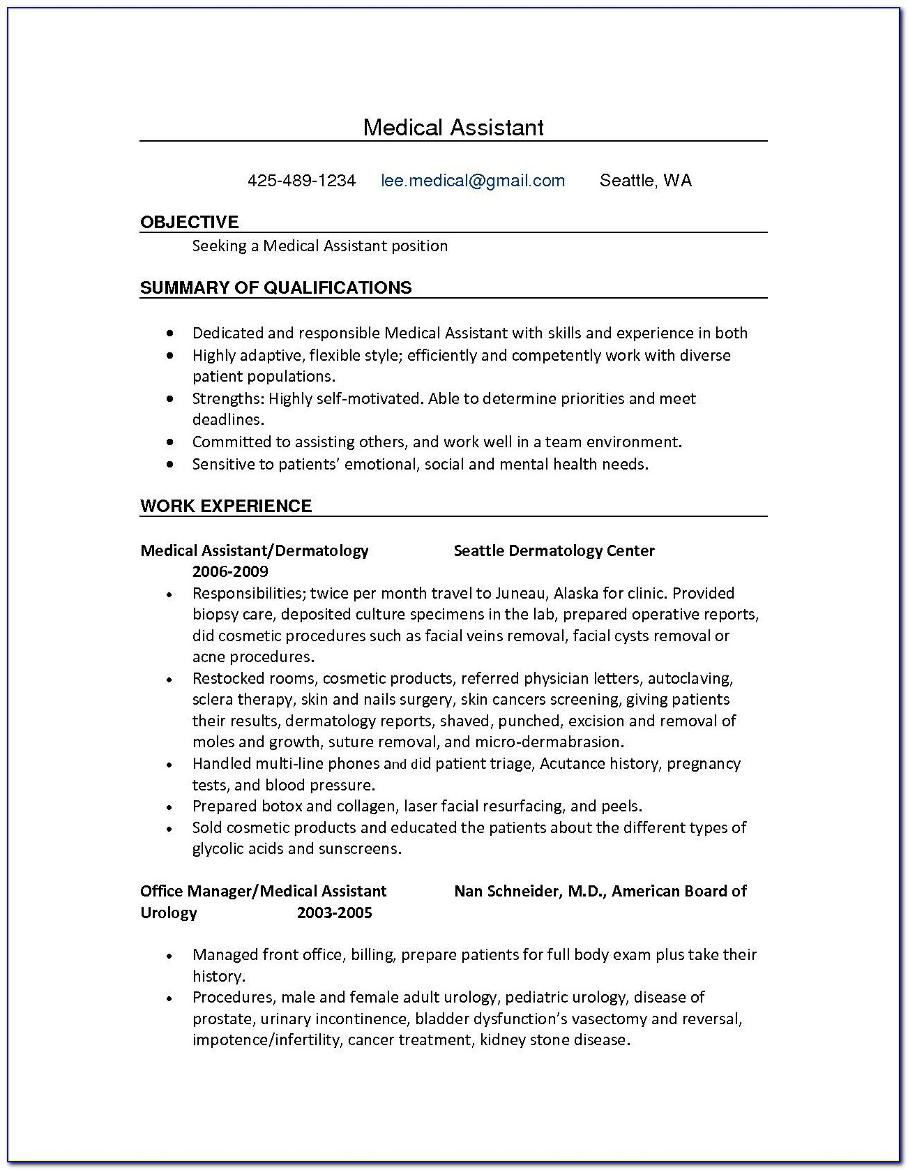 Resume Examples For Medical Office Assistant
