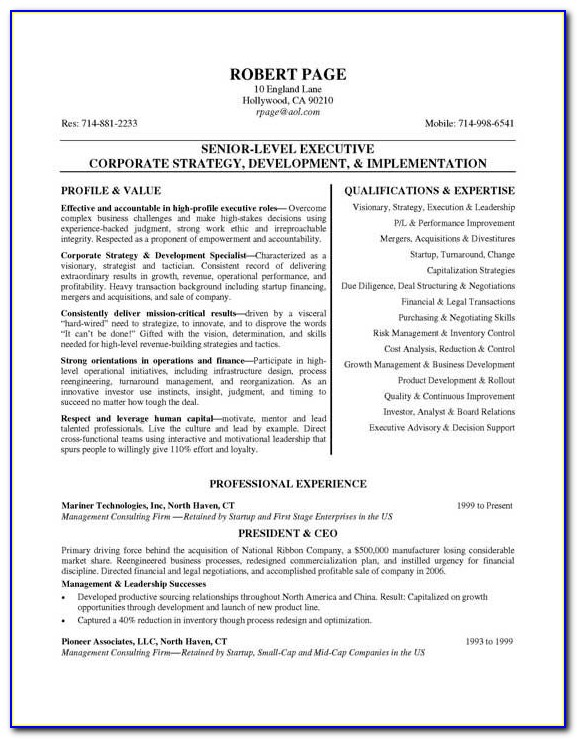 Resume Examples For Senior Executives