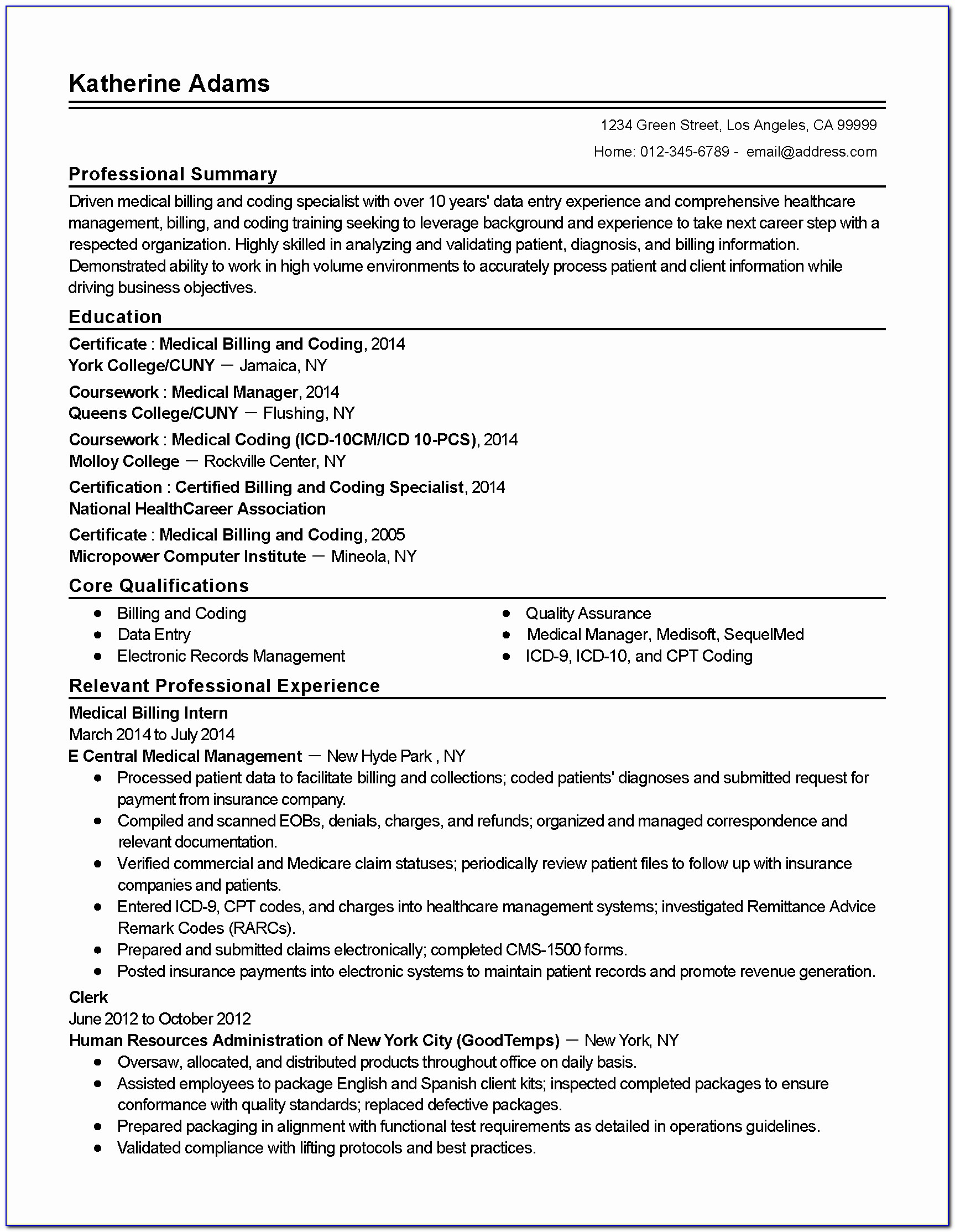 Resume For Medical Billing Job