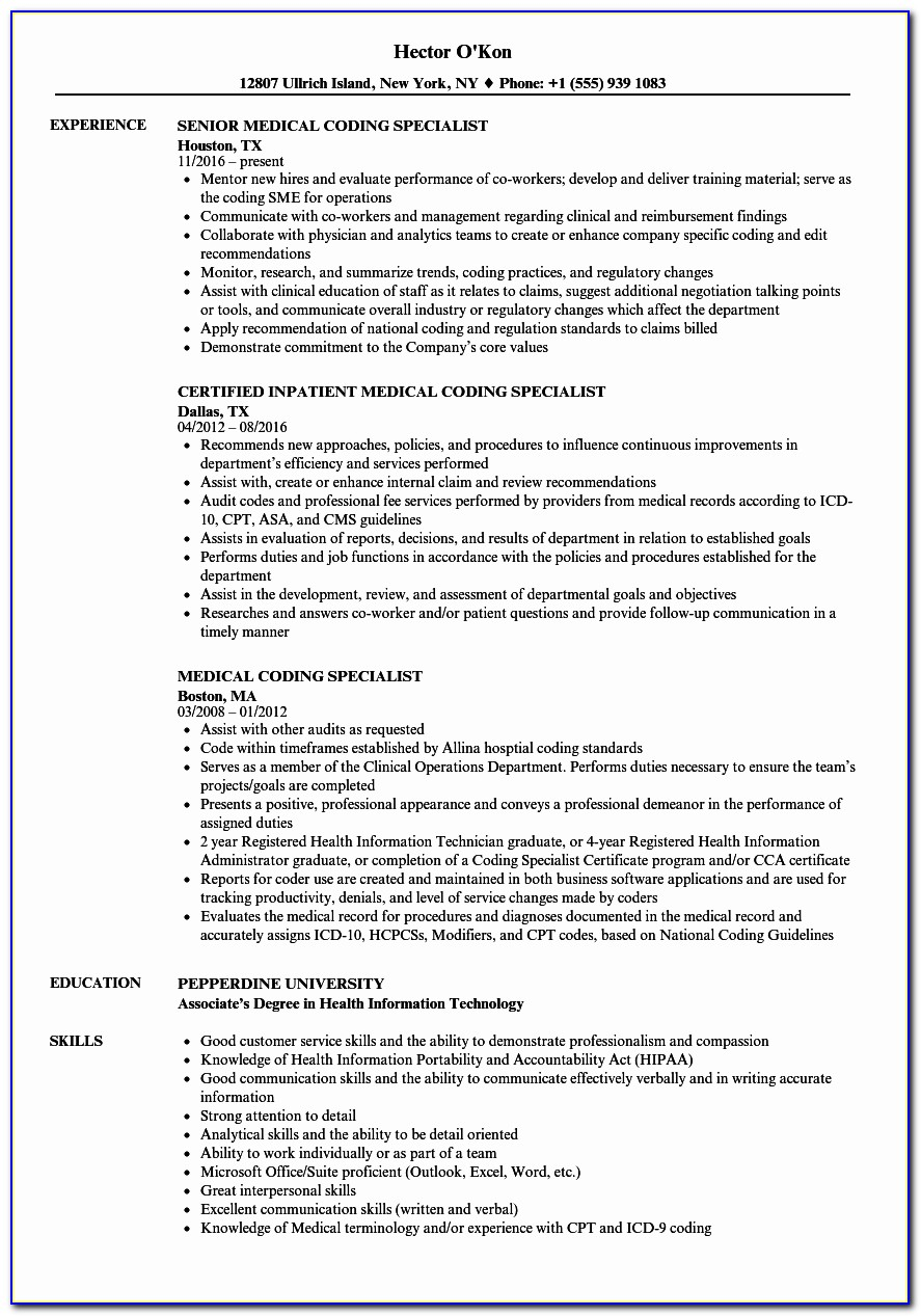 Resume For Medical Billing Specialist