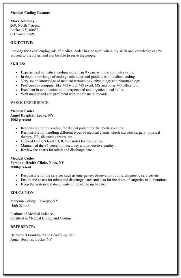 Resume For Medical Coding Specialist