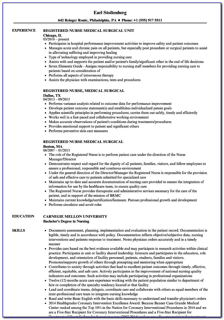 Resume For Registered Nurses Sample