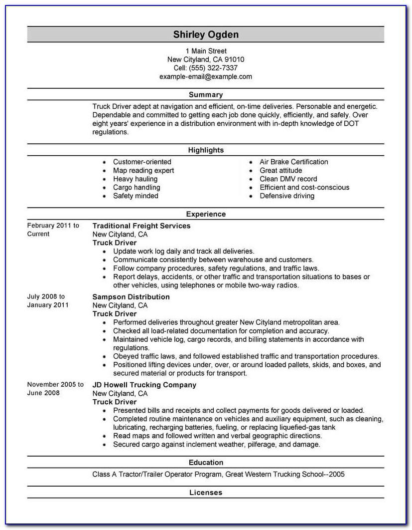 Resume For Semi Truck Driver Position