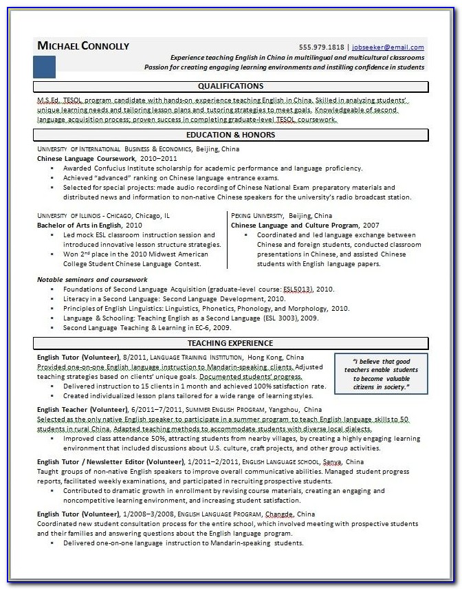Experienced Teacher Resume Examples Jianbochen Within Teaching Experience On Resume
