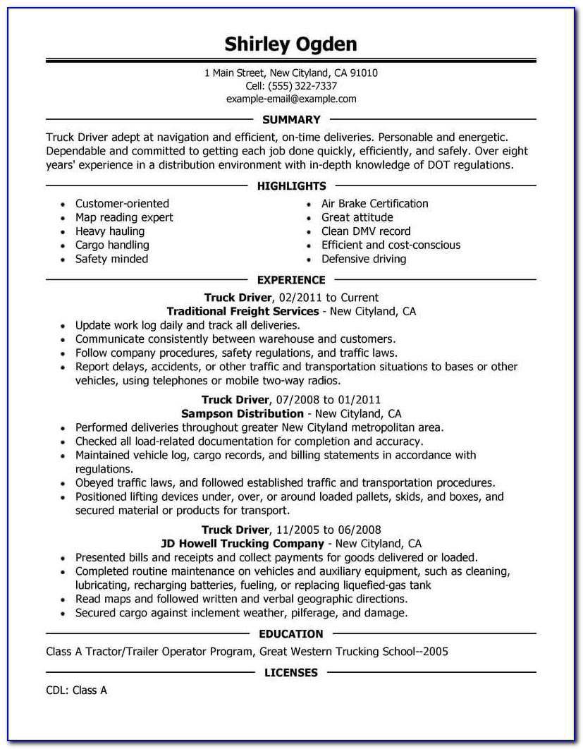 Resume For Truck Driver Sample