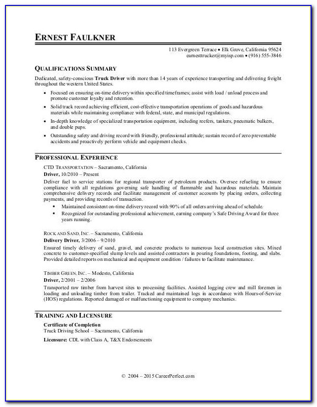 Resume For Truck Driving Job