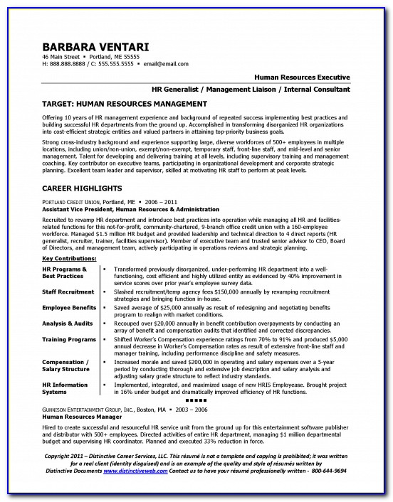 Resume Format For Experienced Hr Executive