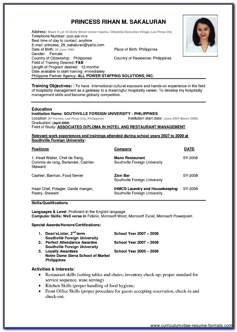 Sample Resume Format For Experienced It Professionals Doc