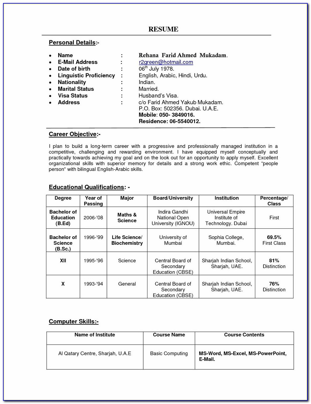 Resume Format Free Download In Ms Word 2017