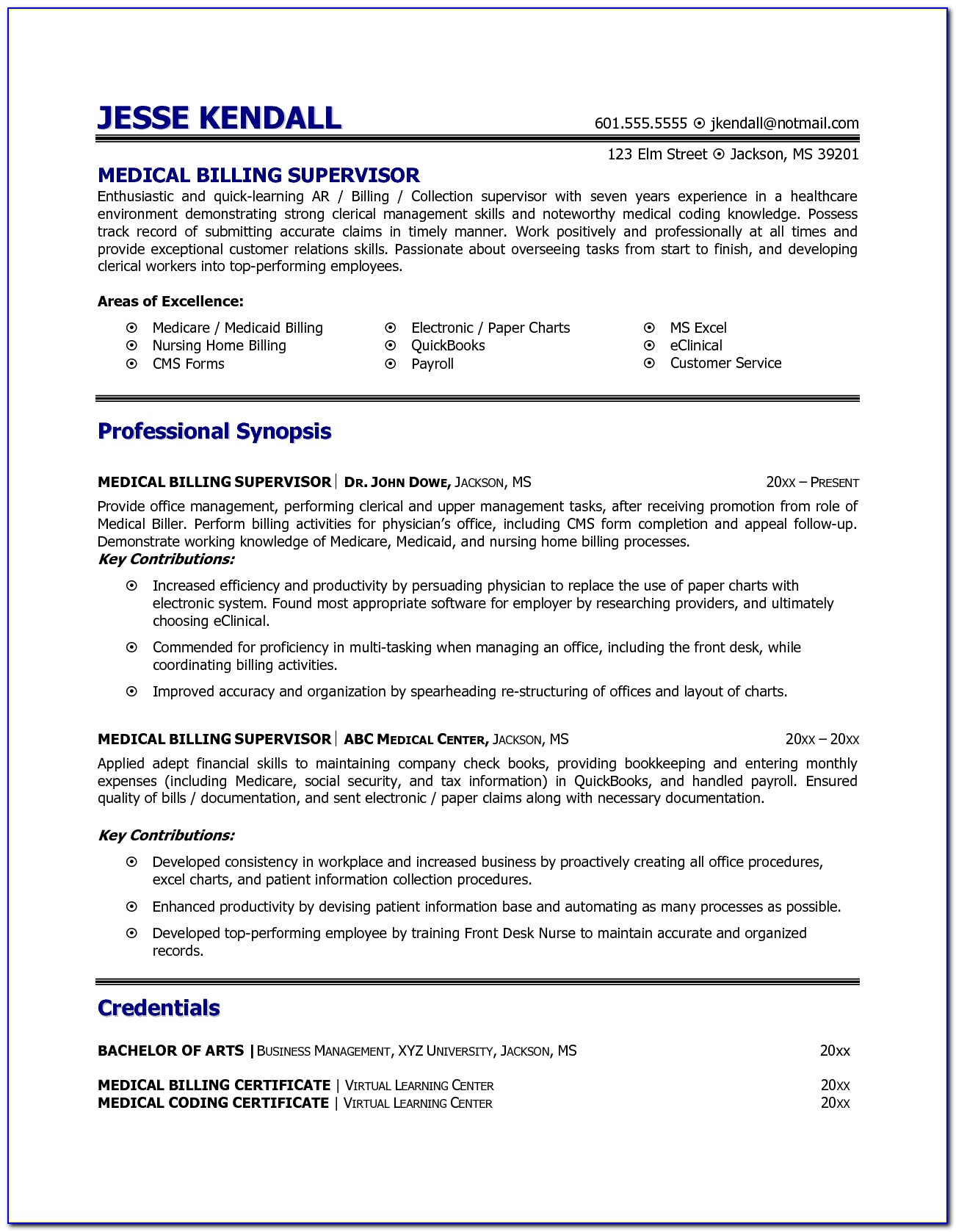 Resume Medical Billing And Coding