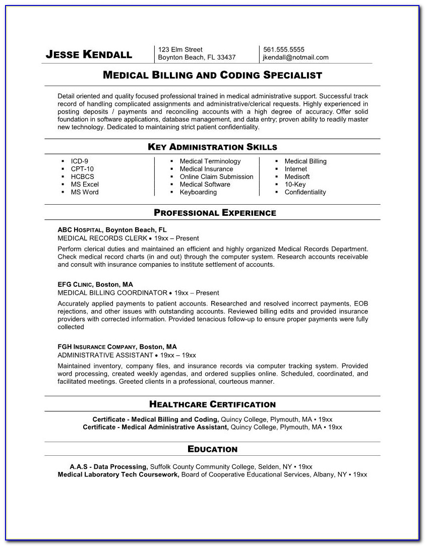 Resume Medical Billing Specialist