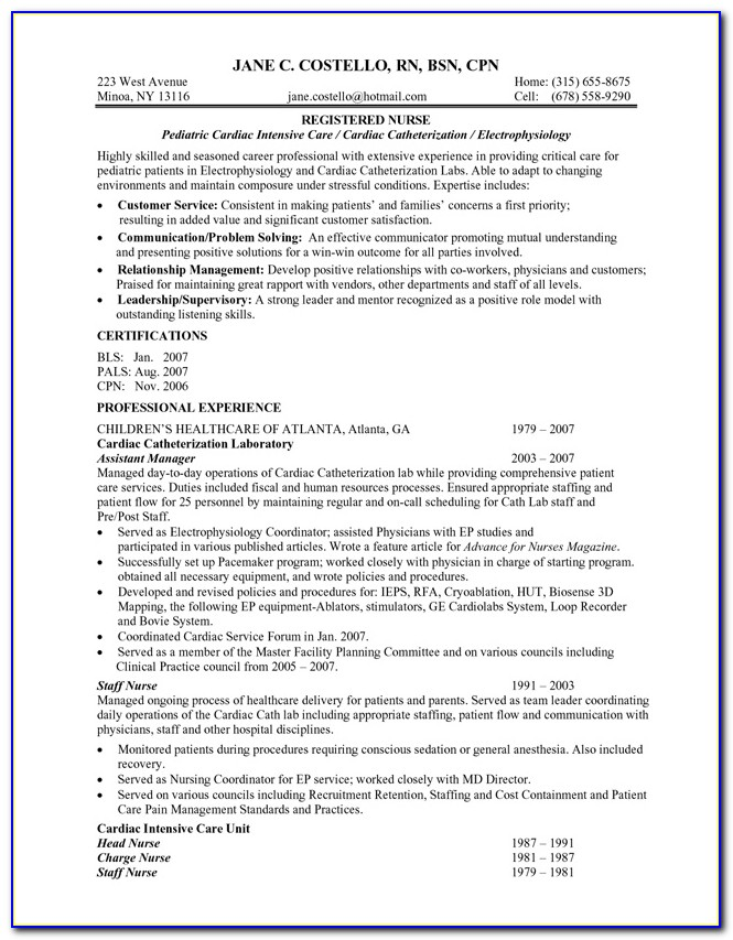 Resume Sample For Nurses Pdf