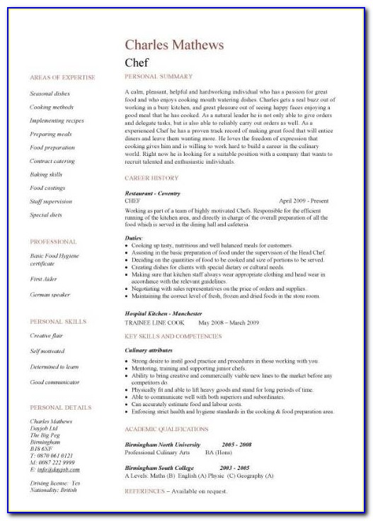 Chef Resume Sample, Examples, Sous, Chef Jobs, Free, Template With Cook Resume Sample