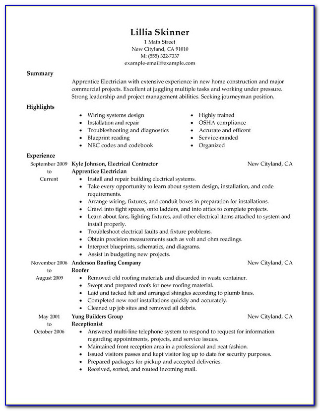 Resume Samples For Electrical Engineering Students