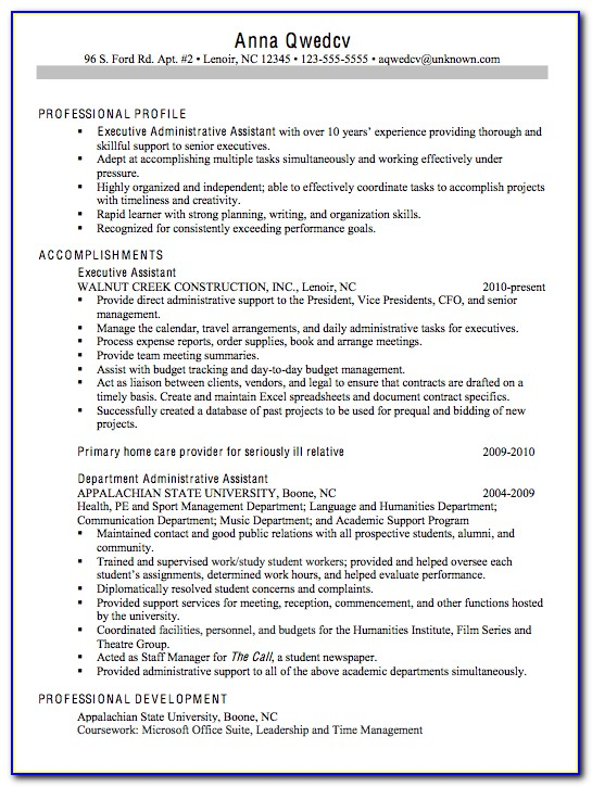 Resume Skills Examples For Executive Assistant