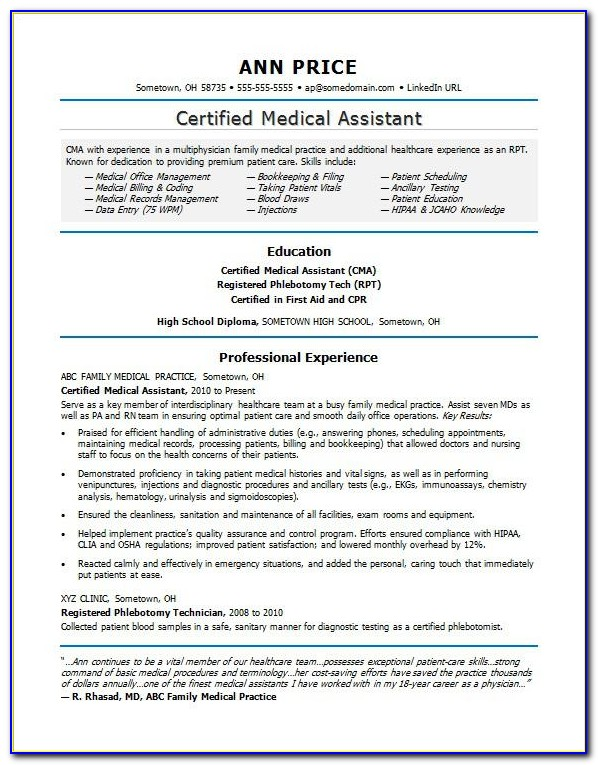 Resume Template For Clinical Medical Assistant