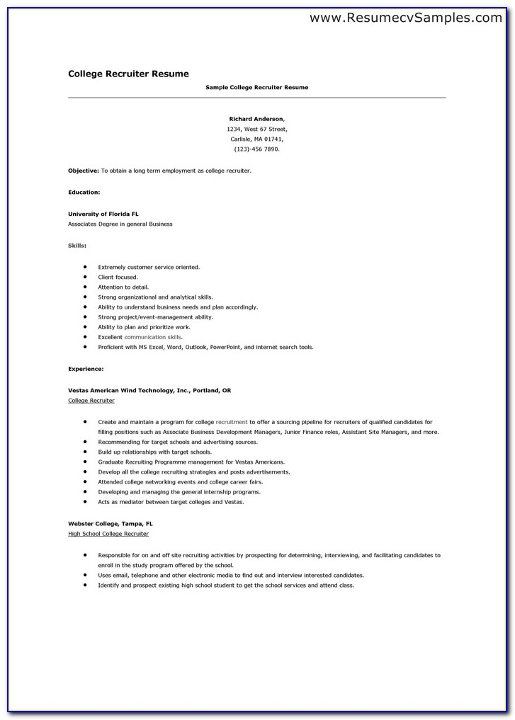 Resume Template For College Admissions