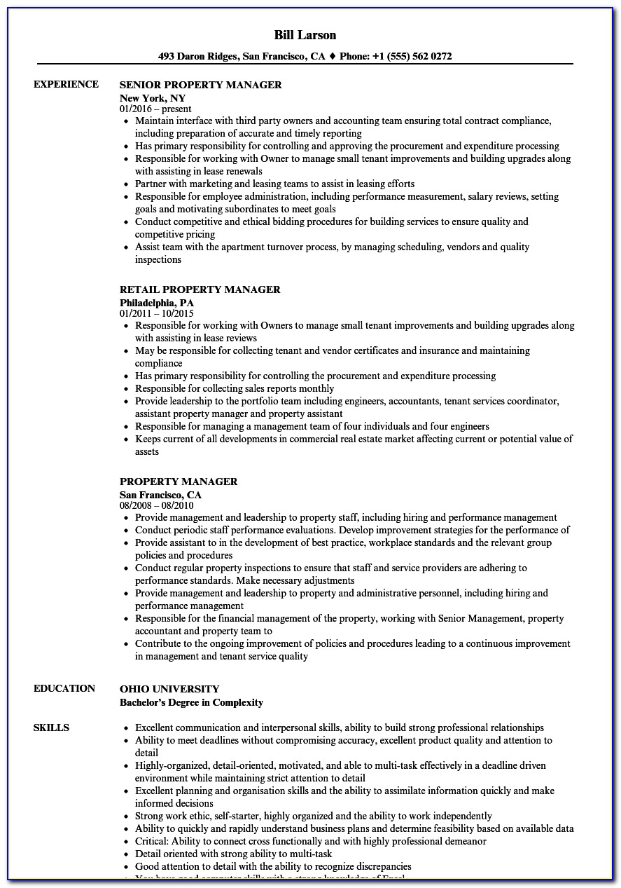 Resume Templates For Property Managers