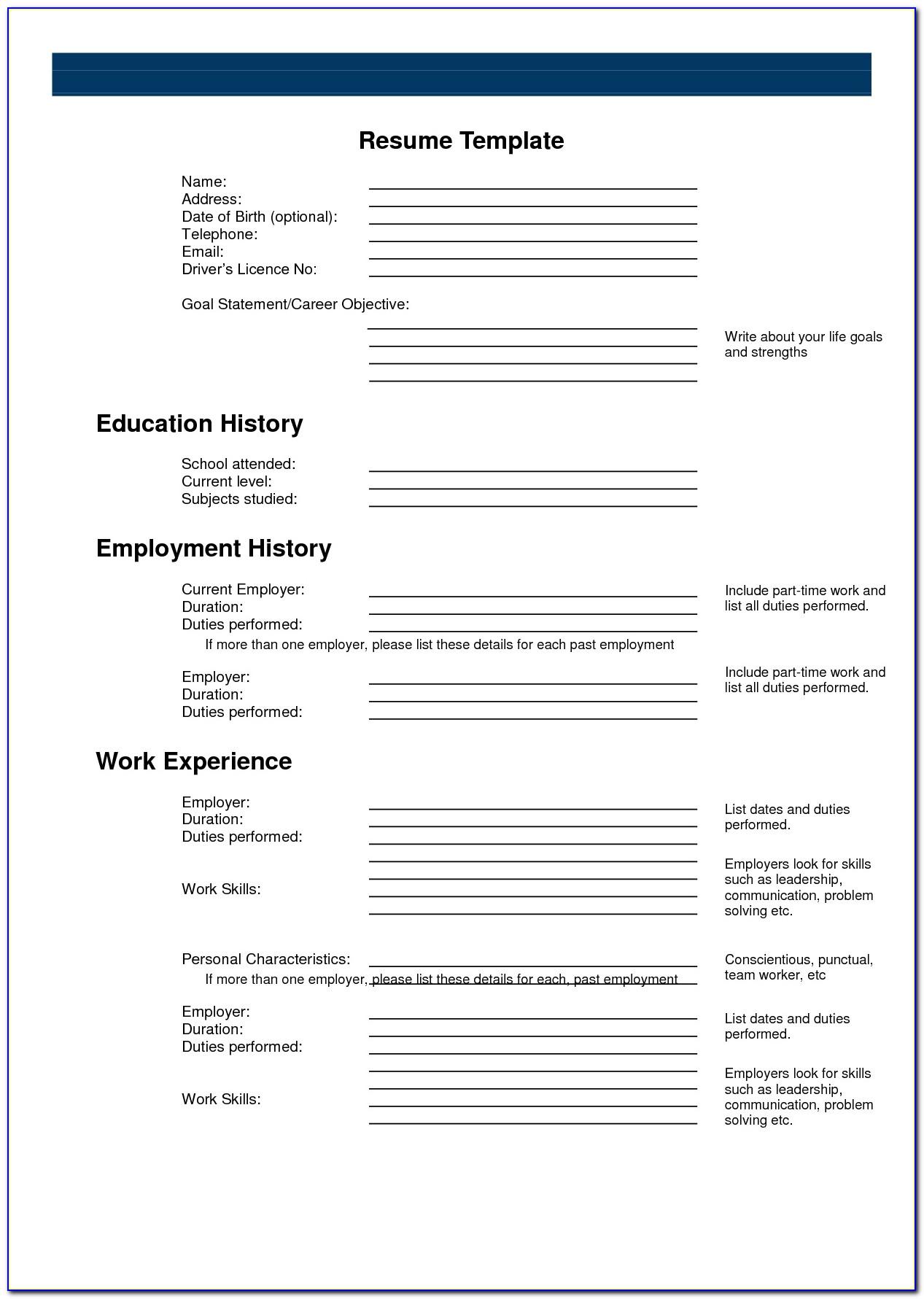 Resume Writing Template Printable
