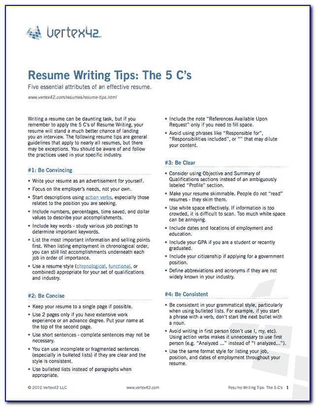 Resume Writing Tips Pdf
