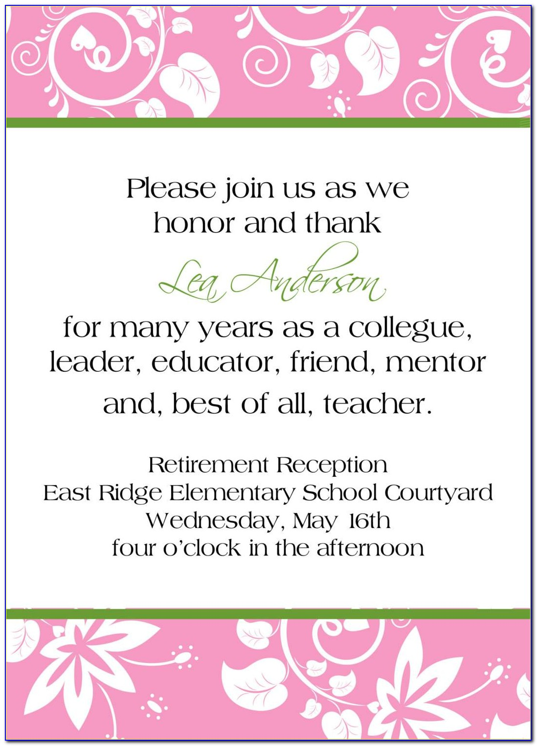 Retirement Party Flyer Template Word